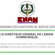 Admissibilités Auditeurs de justice de l'Enam en 2016