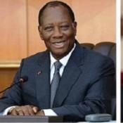 Alassane Dramane Ouattara et deux de ses proches collaborateurs